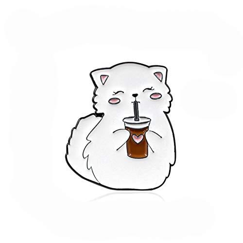 Dibujos Animados creativos Lindo Blanco Grasa Gato felizmente Bebiendo Amor té de limón goleador Tendencia Todo-Partido Mochila Camisa Insignia joyería