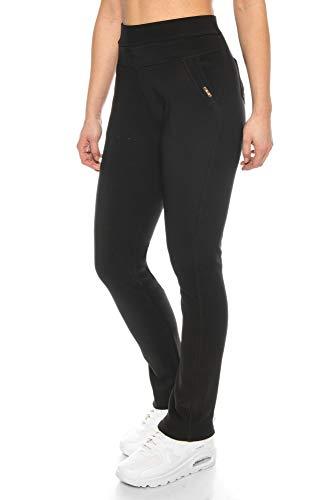 Kendindza Damen Thermo-Leggings gefüttert mit Innen-Fleece Basic Blickdicht (Schwarz | Muster 2, XL)