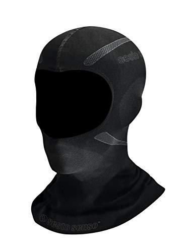 Sesto Senso Motorradmaske Atmungsaktiv Funktions Sturmhaube Motorrad Ski Snowboard Fahrrad Winddicht Maske Wintermütze Grau S/M Schwarz