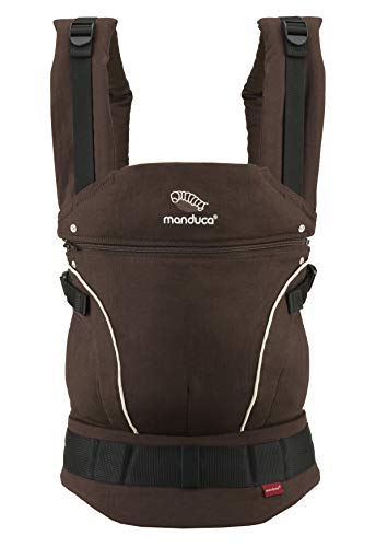 manduca First Baby Carrier > Hemp Cotton Brown/Ecru < Babytrage aus weichem Canvas (Hanf & Bio-Baumwolle) mit Rückenverlängerung & ergonomischen Hüftgurt, für Kleinkinder bis 20kg (braun/natur)
