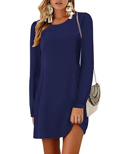 YOINS Damen Kleider Tshirt Kleid Winterkleid für Damen Rundhals Brautkleid Langarm Minikleid Kleid Langes Shirt Lose Tunika mit Bowknot Ärmeln