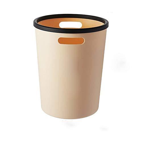 EORj98D Grote Capaciteit Vuilnisbak Huishoudelijke Plastic Eenvoudige Reiniging Emmer Geschikt voor Eetkamer Slaapkamer Woonkamer Beige