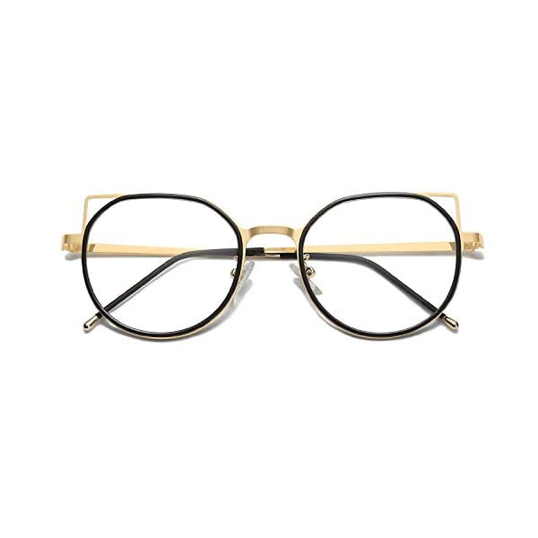 SOJOS Blue Light Blocking Glasses Women Cat Eye Vintage Metal Frame Eyeglasses Fox SJ5059