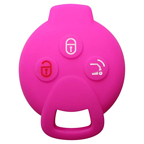 YLC Proteggi Chiave Per Auto In Silicone Car Key Cover Skin Jacket Per Smart 451 FORTWO FORFOUR Roadster Chiave 3 Pulsante(Rosa)