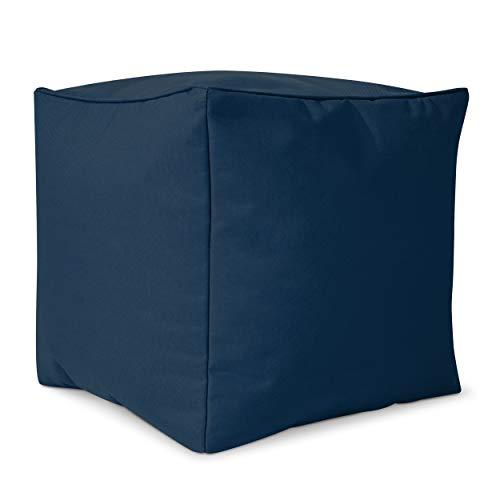 Green Bean  Cube Sitzsack Hocker 40x40x40 cm, Erweiterung & Addon für Cozy Gaming Beanbag, Sitzhocker, Fußhocker für Sitzsäcke, Fußkissen & Stütze, Fußablage für Kinder und Erwachsene, Dunkelblau