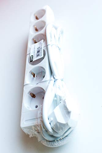 GAO DY-06/9275C7 Stekkerdoos zonder schakelaar 6-voudig wit geaard