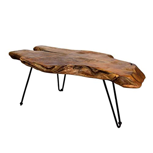 Anya & Niki StyleCraft Badang Carving Natural Wood Edge Teak Contemporary Coffee Cocktail Table with Clear Lacquer Finish and Metal Hairpin Legs for Living Room