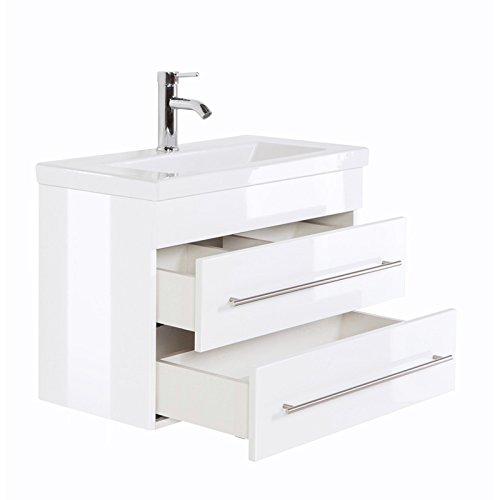 Waschtisch 70cm mit Unterschrank in Hochglanz weiß, Softclose Schubkästen & Keramik-Waschbecken