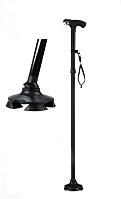 Short Cane - Self Standing Cane - with 4 Feet and Light - Hurry Before They are Gone - Best Walking Cane - As Seen On TV Cane - Foldable - Adjustable - Wrist Strap Black by