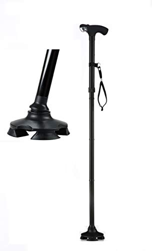 Short Cane - Self Standing Cane - with 4 Feet and Light - Hurry Before They are Gone - Best Walking Cane - As Seen On TV Cane - Foldable - Adjustable - Wrist Strap Black