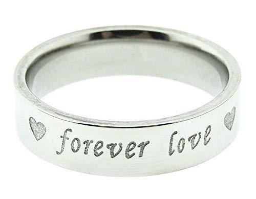 Anillo para hombre y mujer, corazón – Corazón – Alianza – Alianza – Forever Love – Navidad – Joya – Color plata – Talla IT 26 – Idea regalo