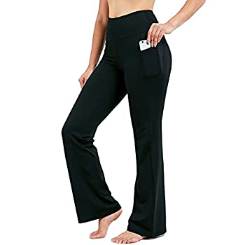 28 /30 /32 /34  Inseam Women s Bootcut Yoga Pants Long Bootleg High-Waisted Flare Pants with Pockets BlackFlare_32_XX-Large Black
