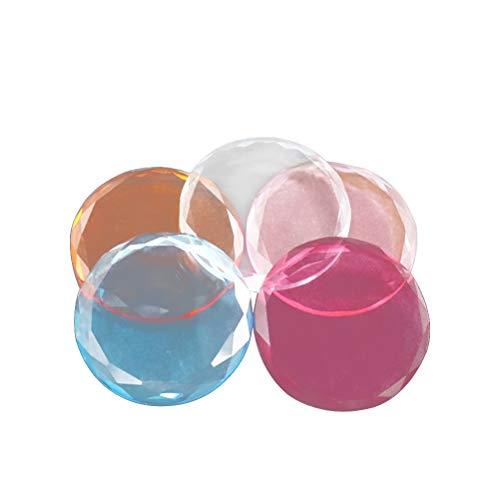 Lurrose 5pcs Femmes greffé Cils en Verre Cristal tampons Joint Outils cil Pad Palette Ronde pour Le Salon (Transparent Rouge Bleu Rose Orange)