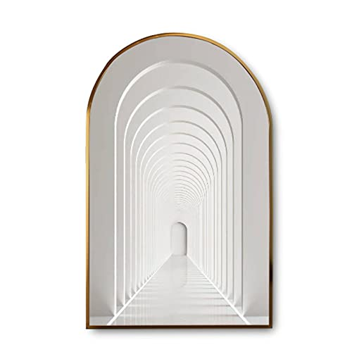 Canvas Wall Art with Golden Frames Arch 3d rendering arc rhythm hallway with LED strip light in white color Modern Giclee Canvas Prints Painting Picture for Home Decor Artworks Ready to Hang