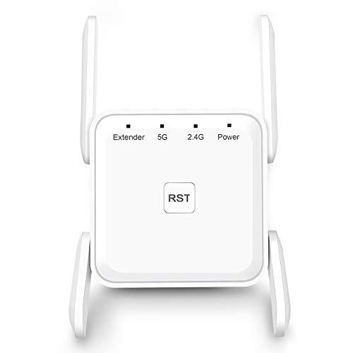 Amplificador Señal Wifi Amplificador Wifi – Repetidor WiFi AC 1200 Wifi Amplificador Doble Banda 5G y 2.4G WiFi Extender WiFi Booster con Puerto Gigabit Ethernet, 4 Antenas,Blanco
