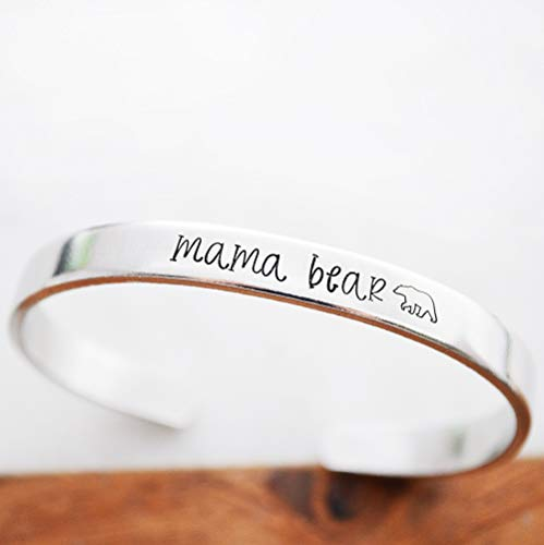 Mama Bear Bracelet for Women Hand Stamped Cuff New Mom Mother's Day Gifts Idea Mommy and Me Jewelry