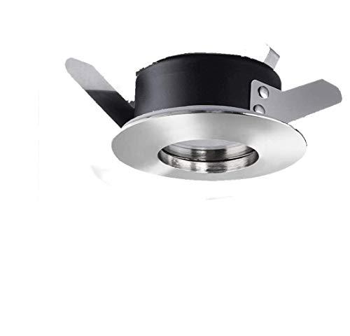 Kit spot à LED pour cabine de douche étanche IP65 à encastrer sur placoplâtre couleur chrome brillant avec lampe LED 7 W = 50 W chaude 2700 K et alimentation 12 V