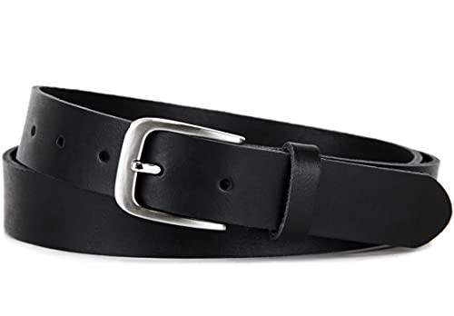 Frentree® Ledergürtel MADE IN GERMANY, Gürtel für Damen und Herren, 3 cm breit, Schwarz, 115cm