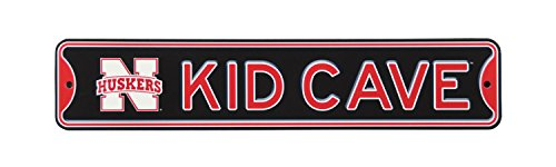 Authentic Street Signs NCAA College Officially Licensed Steel Kid Cave Sign-Decor for Sports Fan Bed Room! … (Nebraska Huskers)