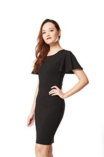 ARACK Damen Midi-Kleid mit Rüschen, Rundhalsausschnitt, Größe M, Schwarz