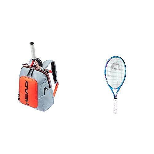 Head Kids Backpack Bolsa De Raqueta, Unisex, Gris Y Naranja + Maria 21-Raqueta De Tenis, Color Azul Claro, Talla Única, Juventud Unisex, Multicolor, 4-6 Años