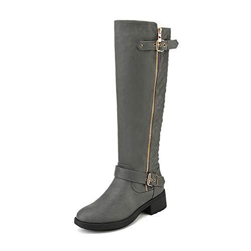 DREAM PAIRS Women's Utah Grey Low Stacked Heel Knee High Riding Boots Wide Calf Size 8.5 M US