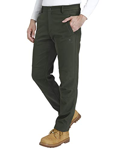CAMEL CROWN Men's Softshell Fleece Pants Waterproof Windproof for Outdoor Mountain Ski Hiking Hunting Insulated Trousers(Olive, XXL)