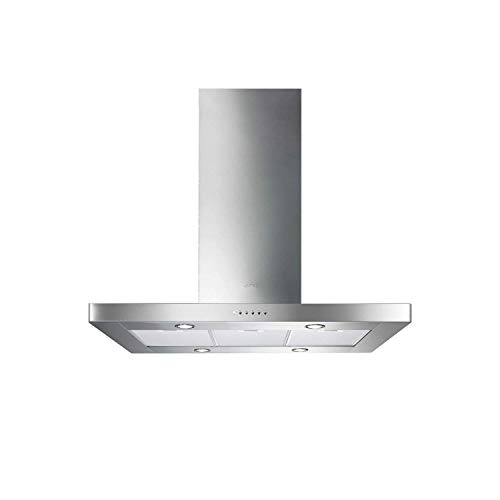 Hotte decorative ilot Smeg KI90XE - Hotte aspirante Box - largeur 90 cm - Débit d'air maximum (en m3/h) : 820 - Niveau sonore Décibel mini. / maxi. (en dBA) : 52 / 72