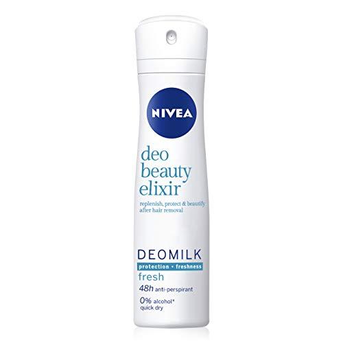 NIVEA DeoMilk Fresh Beauty Elixir Desodorante Spray, 1 x 150 ml, desodorante antitranspirante con esencia de leche repara y protege la piel, para una piel suave y fresca
