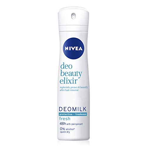 NIVEA DeoMilk Fresh Beauty Elixir Desodorante Spray (1 x 150 ml), desodorante antitranspirante con esencia de leche repara y protege la piel, para una piel suave y fresca