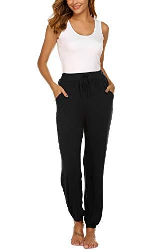 UNibelle Yogahosen Lang Hose Jogginghose Lose Sporthose Freizeit Hose Schlafanzughose mit Tasche für Damen Schwarz-M