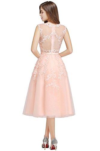 MisShow Damen Elegant Spitze Abschlussballkleid mit Perlen Homecoming kleid Knilang Rosa 42