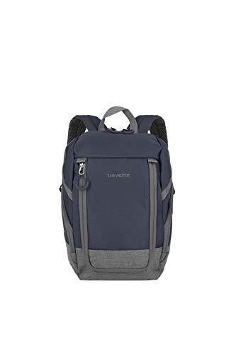 travelite Handgepäck Rucksack für Reise, Freizeit und Sport, Gepäck Serie BASICS Daypack: Kompakter travelite Rucksack, 096290-20, 35 cm, 14 Liter, marine/grau