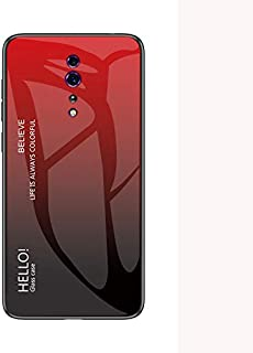 OPPO Reno Z Case,Tempered Glass Back Cover with Soft TPU Bumper,Anti-Scratch Shockproof Case for OPPO Reno Z-Red