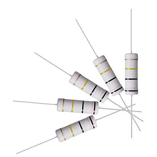 sourcing map 10 uds 5W 5 vatios Resistencias de película de óxido metálico de cable axial 100K OHM ±5% de tolerancia