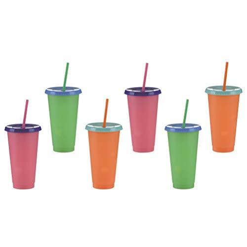Hemoton 6 Tazas de Colores Cambiantes Vaso de Plástico con Tapas Y Pajitas Vaso de Color Frío Cambiador de Color Tazas de Verano para Adultos Botella de Agua para Niños Colores Aleatorios