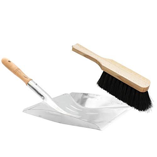 Lantelme 3309 2 tlg Set Cepillo con Fibras Naturales y el Metal con recogedor de Acero galvanizado