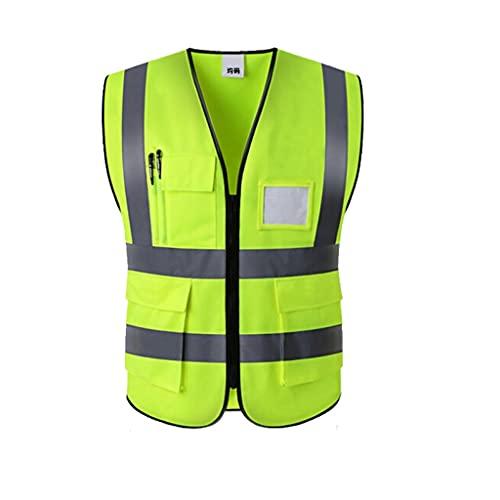 Chaleco de seguridad de alta visibilidad de visibilidad Vestimiento reflectante Seguridad de seguridad Amarillo Seguridad Vestido de malla con cremallera de malla y HI visitante de construcción