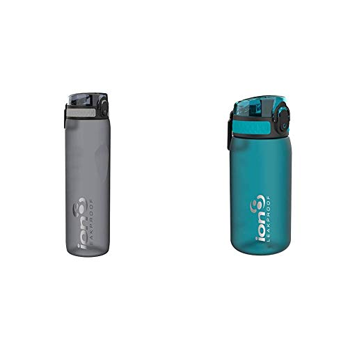 Ion8 Leak Proof Gym, Outdoors & Camping Water Bottle, BPA Free, 1 litre / 1000ml / 32oz, Frosted Grey & Leak Proof Kids' Water Bottle, BPA Free, 350ml / 12oz, Aqua