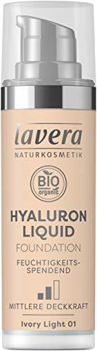 lavera HYALURON LIQUID FOUNDATION -Ivory Light 01- mit Bio-Mandelöl ∙ Make-Up Grundierung ∙ intensive Feuchtigkeit ✔ Naturkosmetik ✔ vegan ✔ Bio Inhaltsstoffe ✔ Natürlich & Innovativ, 30 ml
