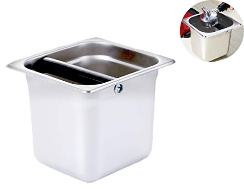 6 inch Stainless Steel Coffee Espresso Knock Box Shock-Absorbent Knockbox Coffee Machine Dump Bin Kitchen Tool for Home Cafe Bars