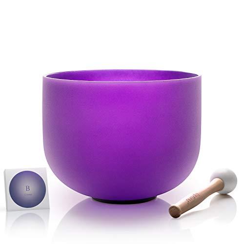 TOPFUND Kristall Klangschale B Krone Chakra Lila Frosted Singing Bowl 10 Zoll 25cm (o - ring und hammer enthalten)