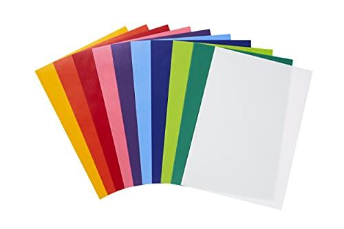 perfect ideaz 50 Blatt Transparent-Papier DIN-A4, Pergament-Papier 115 g/m² bunt, Tracing Paper seiden-matt, farbig Sortiert in 10 Farben, zum Basteln, Abpausen, Zeichnen, Skizzieren & Scrapbooking