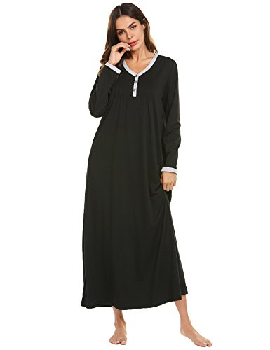 Ekouaer Womens Cotton Knit Long Sleeve Nightgown for Women, Henley Full Length Sleep Dress,Black,XX-Large