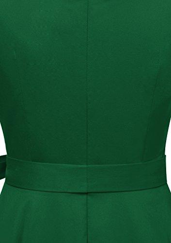 Timormode Vestido Vintage Fiesta Color Sólido Sencillo Y Elegante Rockabilly Mujer Army Green XXXL
