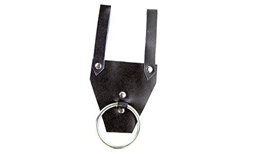 Erlebnis Mittelalter - Schwerthalter / Axthalter für den kleinen Krieger / Karneval / Fasching (Ringschwerthalter Leder aus echtem Leder, mit Edelstahlring)