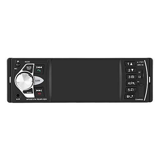 Qiilu Radio coche 4.1 pulgadas Reproductor MP5 Pantalla HD Bluetooth Manos libres Reproducción de video Radio FM AUX TF USB y Control remoto(con camara)