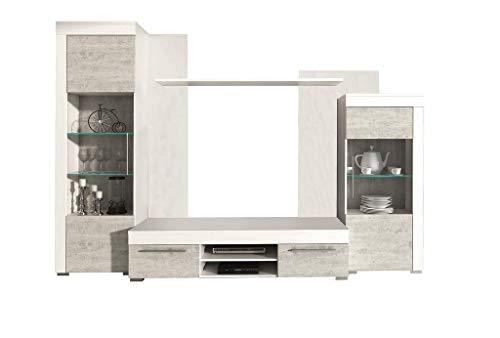 Froschkönig24 Burnley 2 Wohnwand Anbauwand Wohnzimmer Betonoptik/Kiefer Weiß, LED-Beleuchtung:mit LED-Beleuchtung
