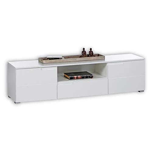 SPICE TV-Lowboard in Hochglanz Weiß - Modernes TV-Board mit viel Stauraum für Ihren Wohnbereich - 165 x 42 x 40 cm (B/H/T)