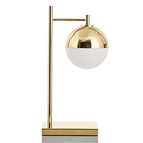 XKUN Lámpara de Mesa Decorativa Postmoderna Bola Creativa Lámpara de Mesa Dorada Habitación Nórdica Estudio Suave Dormitorio Dormitorio Cama Lectura Aprendizaje Lámpara de Mesa de Trabajo,Oro